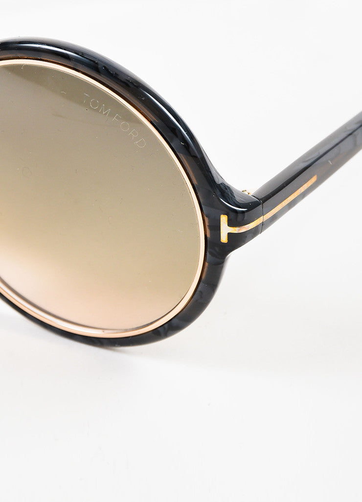 "Tom Ford Grey Gold Tone Trim ""Carrie"" Oversized Round Sunglasses Detail"