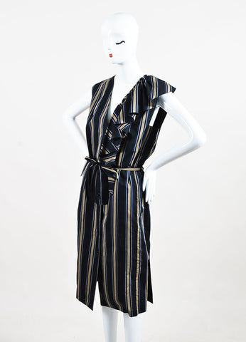 Tome Black, Tan, and Navy Striped Sleeveless Ruffle Belted Dress