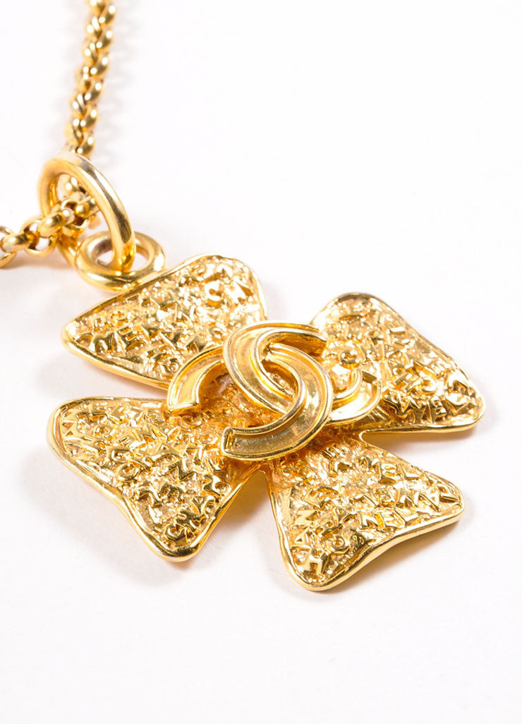 "Chanel Gold Toned ""CC"" Four Leaf Clover Pendant Necklace Detail 2"