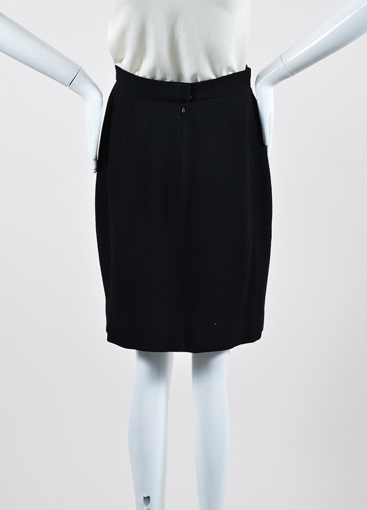 Black Chanel Wool and Velvet Pencil Skirt Backview