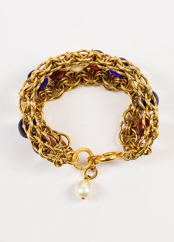 Chanel Gold Toned, Blue, and Red Faux Pearl Beaded Layered Chain Link Bracelet Topview