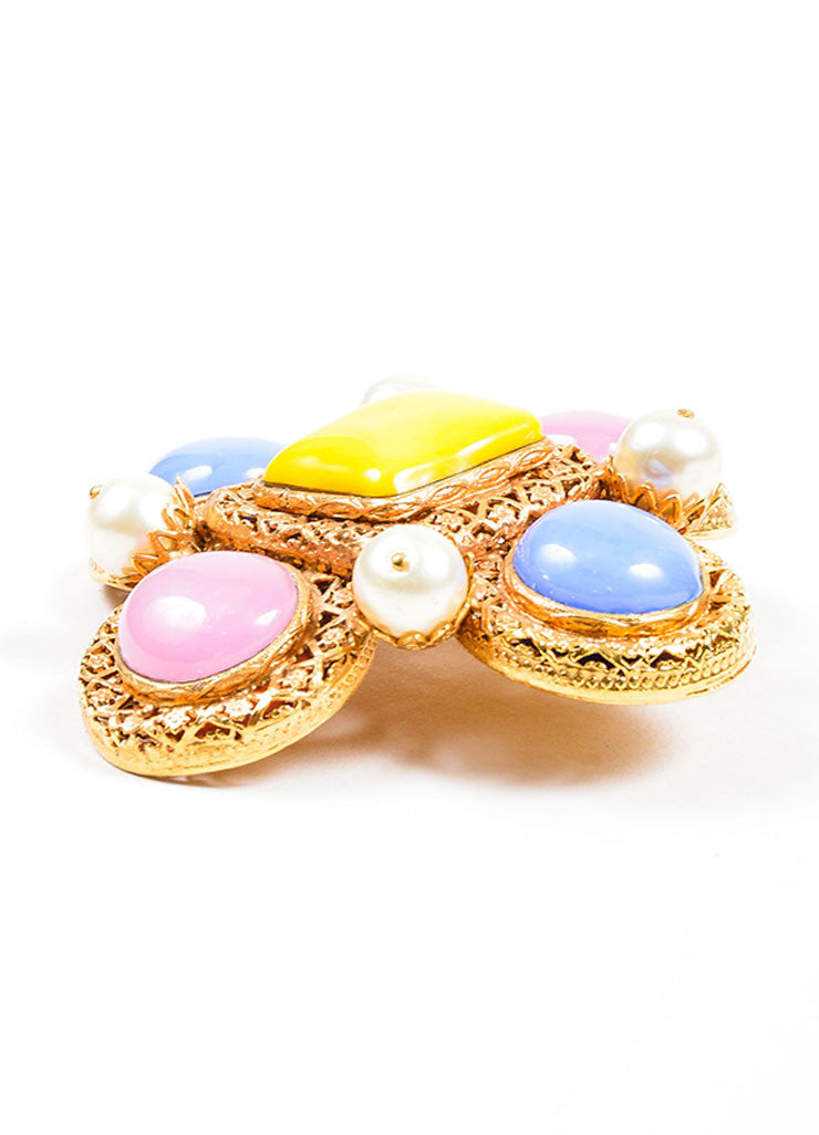 Gold Toned, Pink, and Blue Chanel Cabochon and Pearl Gripoix Pin Brooch Sideview