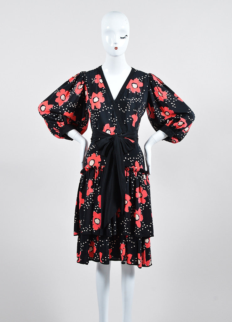 Black and Red Emanuel Ungaro Poppy Print Tiered Ruffle Belted Dress Frontview