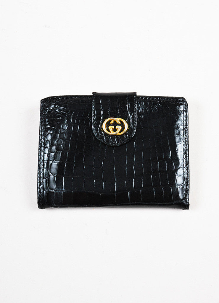 Gucci Black Crocodile Gold Toned 'GG' Snap Tab Kiss Lock Wallet Frontview