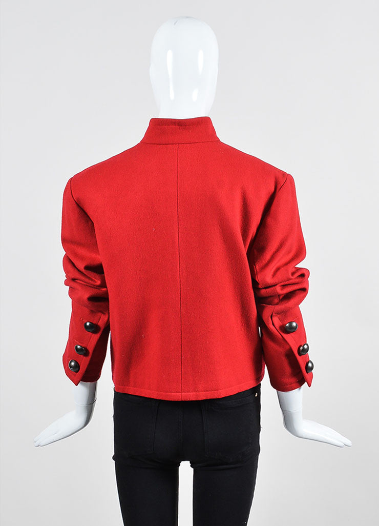Red Yves Saint Laurent Wool Button Tailored Jacket Backview