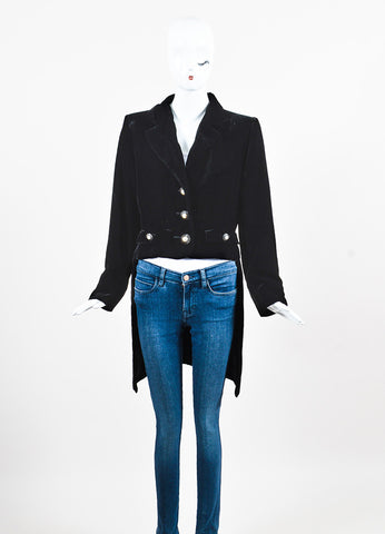 Yves Saint Laurent Rive Gauche Black Velvet Tuxedo Jacket Frontview 2
