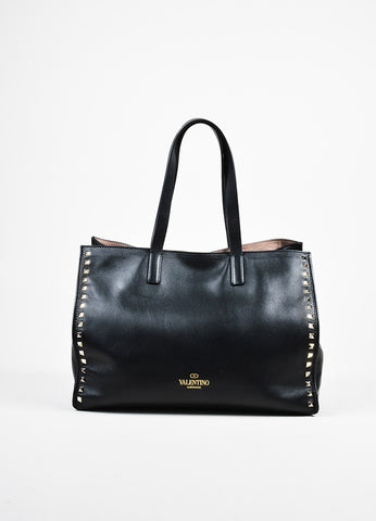 "Black Valentino Leather Pyramid Stud ""Rockstud Soft Tote"" Bag Frontview"