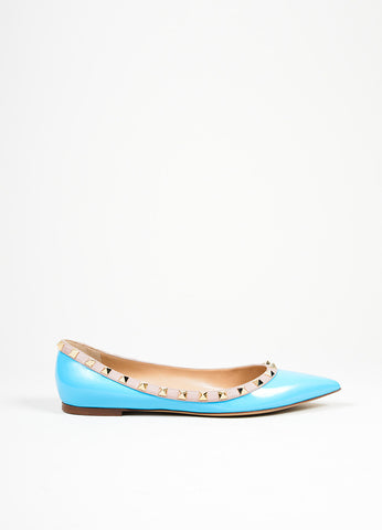 Blue and Gold Valentino Patent Leather Pointed Toe Rockstud Flats Sideview