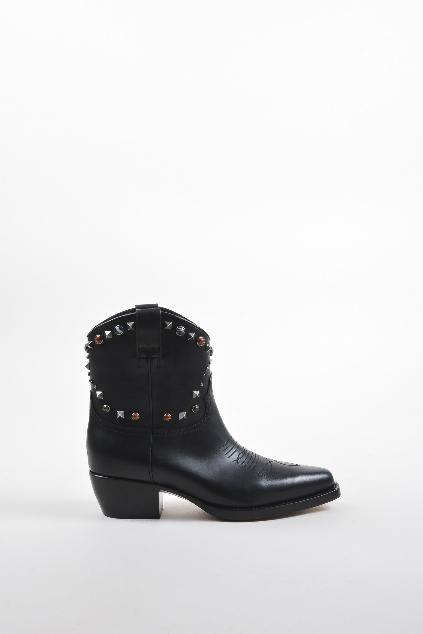 Valentino Garavani Black Leather Texan Rockstud Rolling Boots Sideview