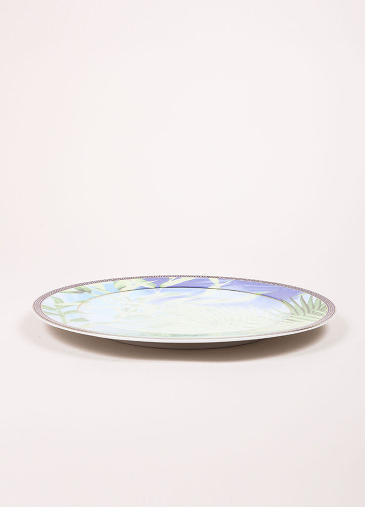 "Versace Rosenthal Green and Blue Leaf Print ""Jungle"" 12 inch Service Plate Sideview"