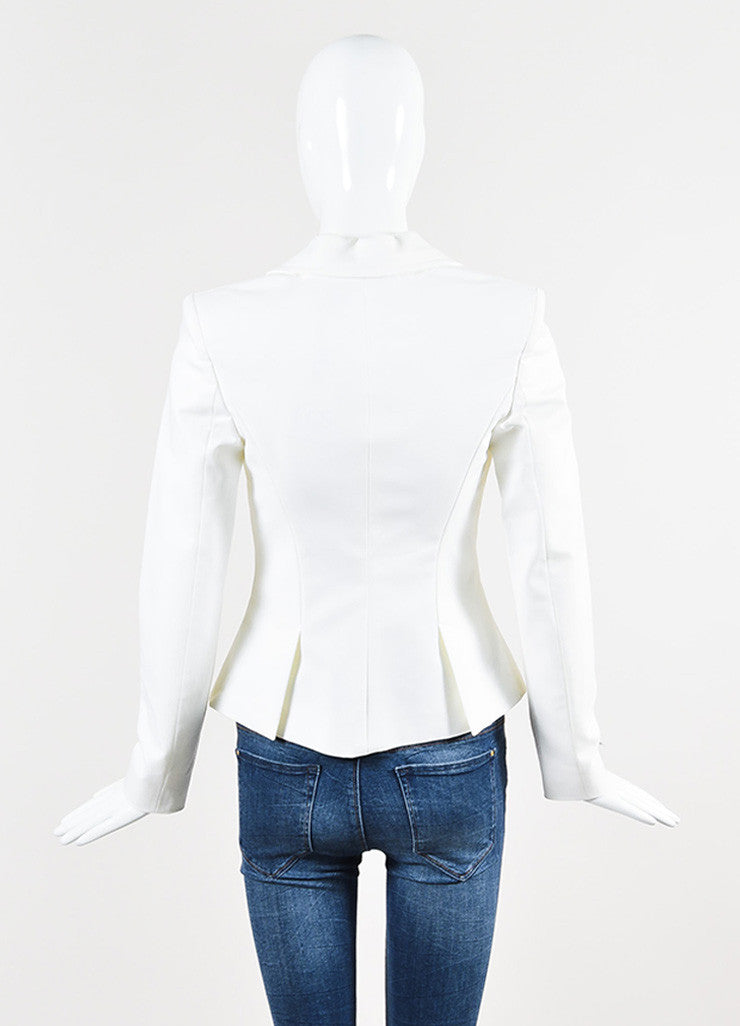 Versace White Cotton Gold Toned Hook and Eye Detail Zip Up Blazer Jacket Backview
