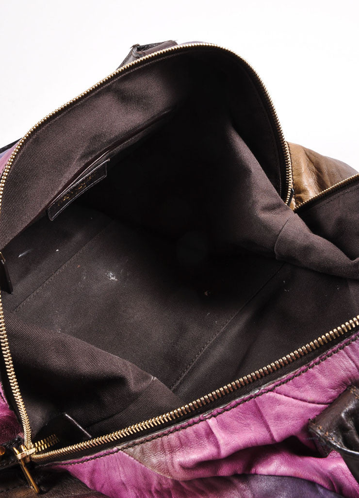 "Yves Saint Laurent Purple Multicolor Leather Ombre ""Easy Sac"" Satchel Bag Interior"
