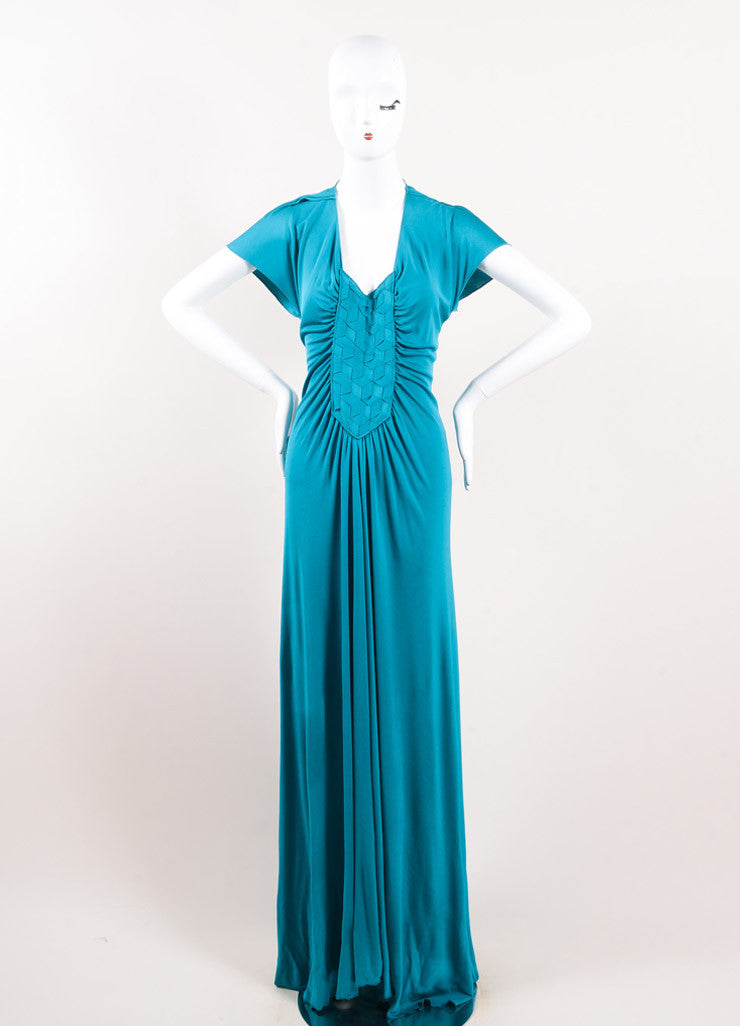 Yves Saint Laurent Teal Viscose Silk Woven Front Floor Length Gown Frontview