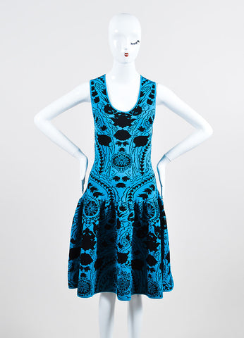 Blue and Black Marchesa Voyage Knit Sleeveless Dress Front