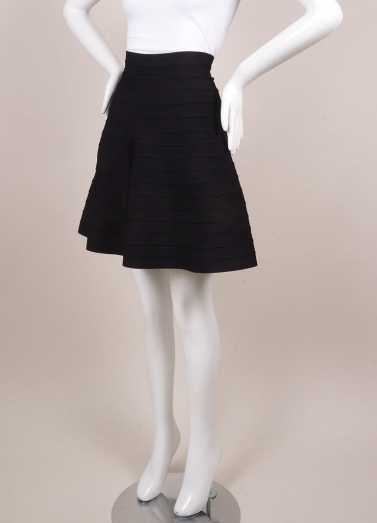 Herve Leger Black Bandage Skater Skirt Sideview