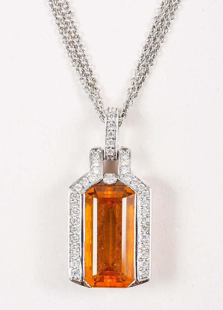 18K White Gold 7.74 ct Citrine Stone 0.43 ct Diamond Rolo Chain Pendant Necklace Detail 2