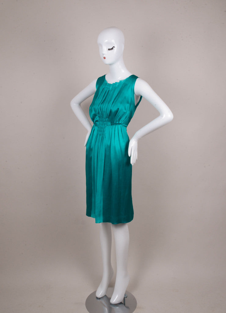Teal Pleated and Smocked Sleeveless Silk Dress