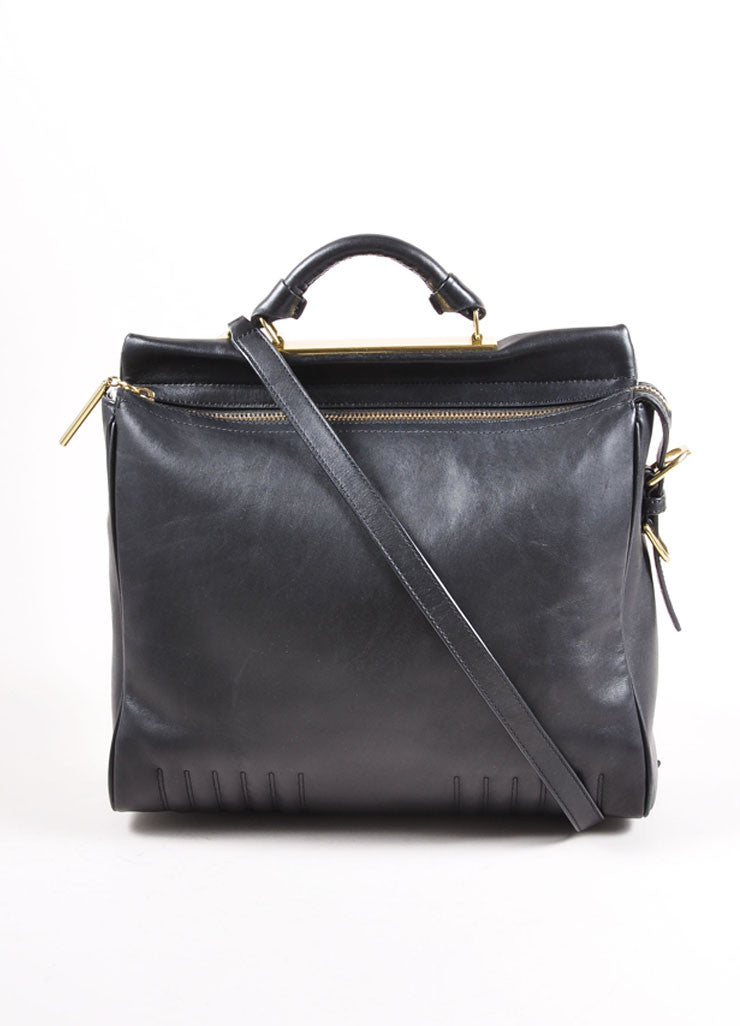 "3.1 Phillip Lim Black Paneled ""Ryder"" Satchel Bag Frontview"