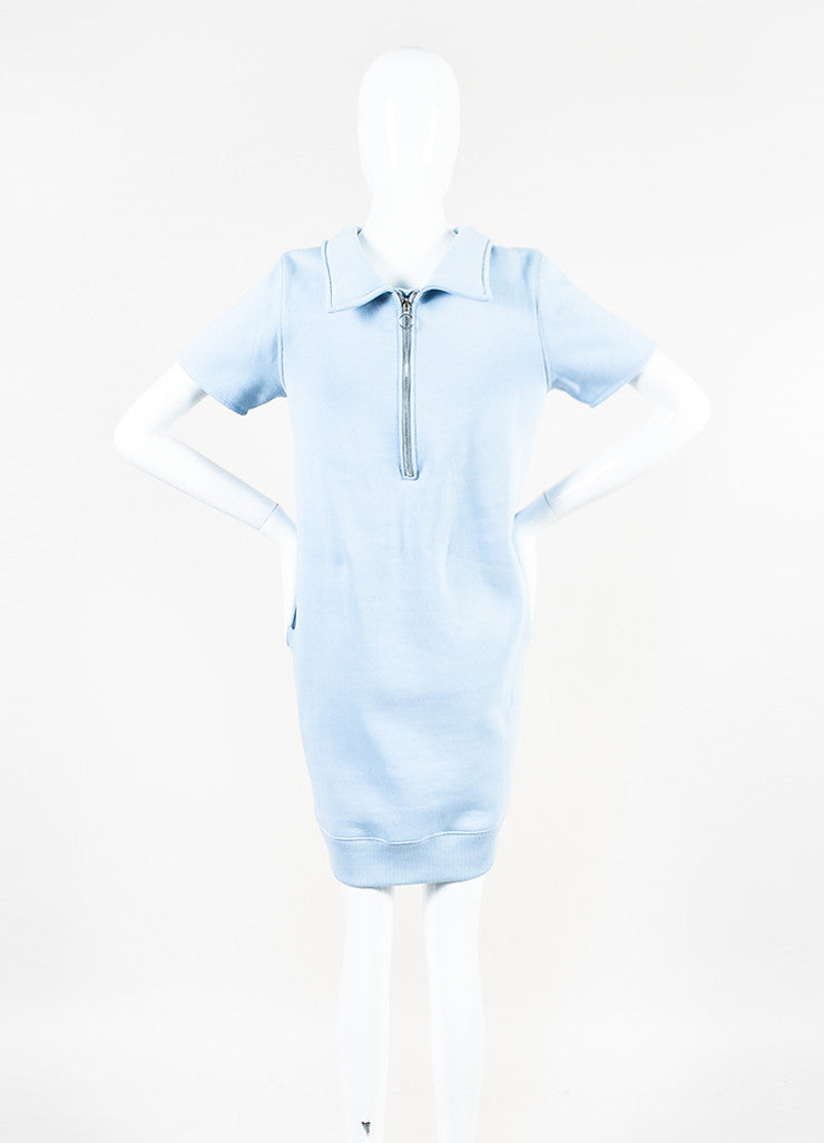 "Acne Studios Light Blue Cotton Knit ""Lois"" Short Sleeve Sweatshirt Dress Backview"