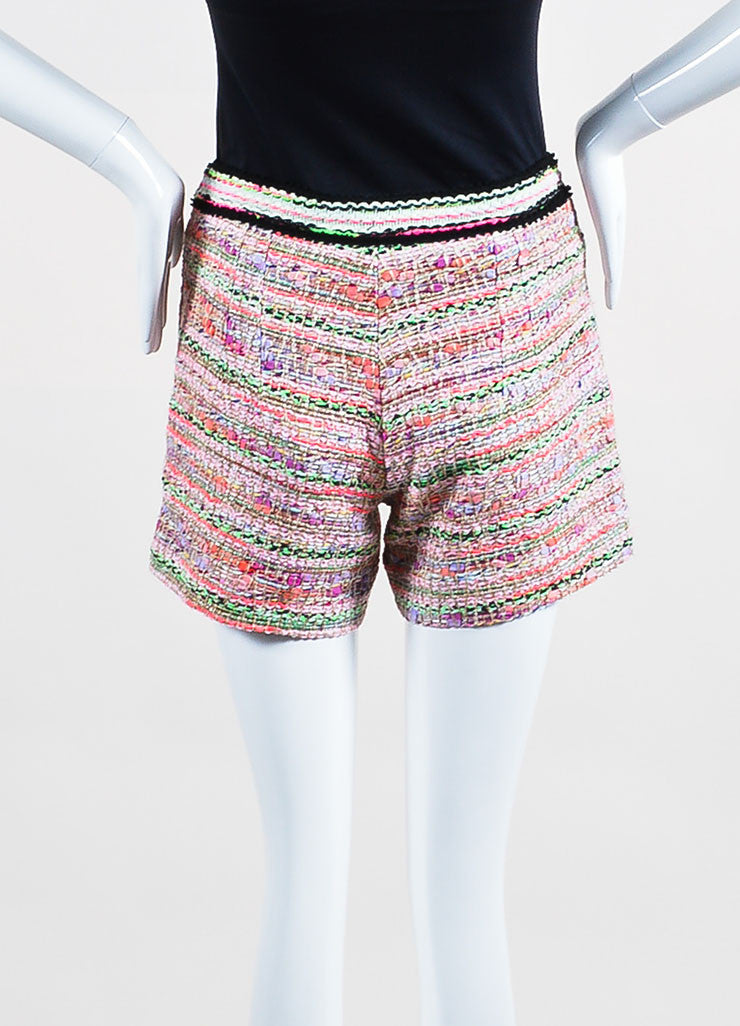 Pink and Multicolor Neon Andrew Gn Tweed Shorts Backview