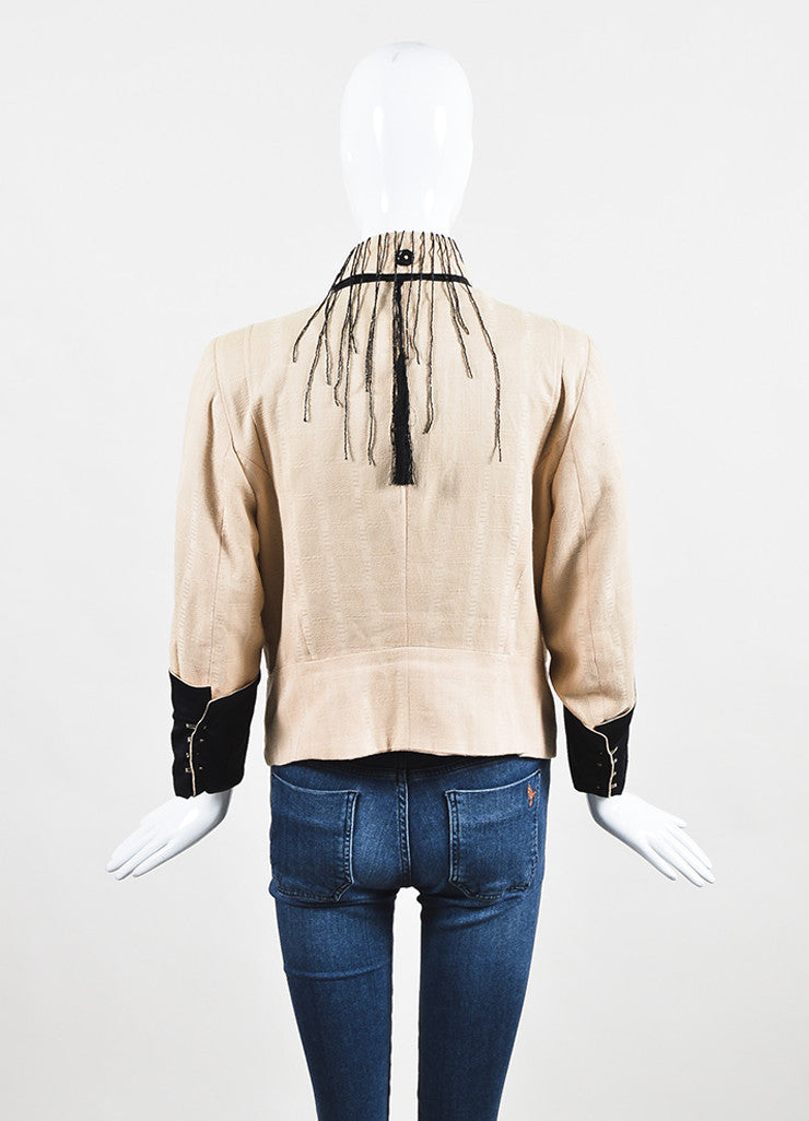 Ann Demeulemeester Beige and Black Cotton Bead Fringe Double Breasted Jacket Backview