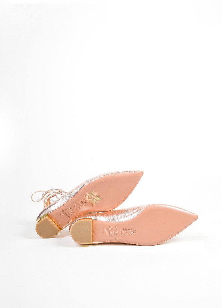 "Rose Gold Leather Aquazzura ""Christy"" Pointed Toe Lace Up Flats Outsoles"