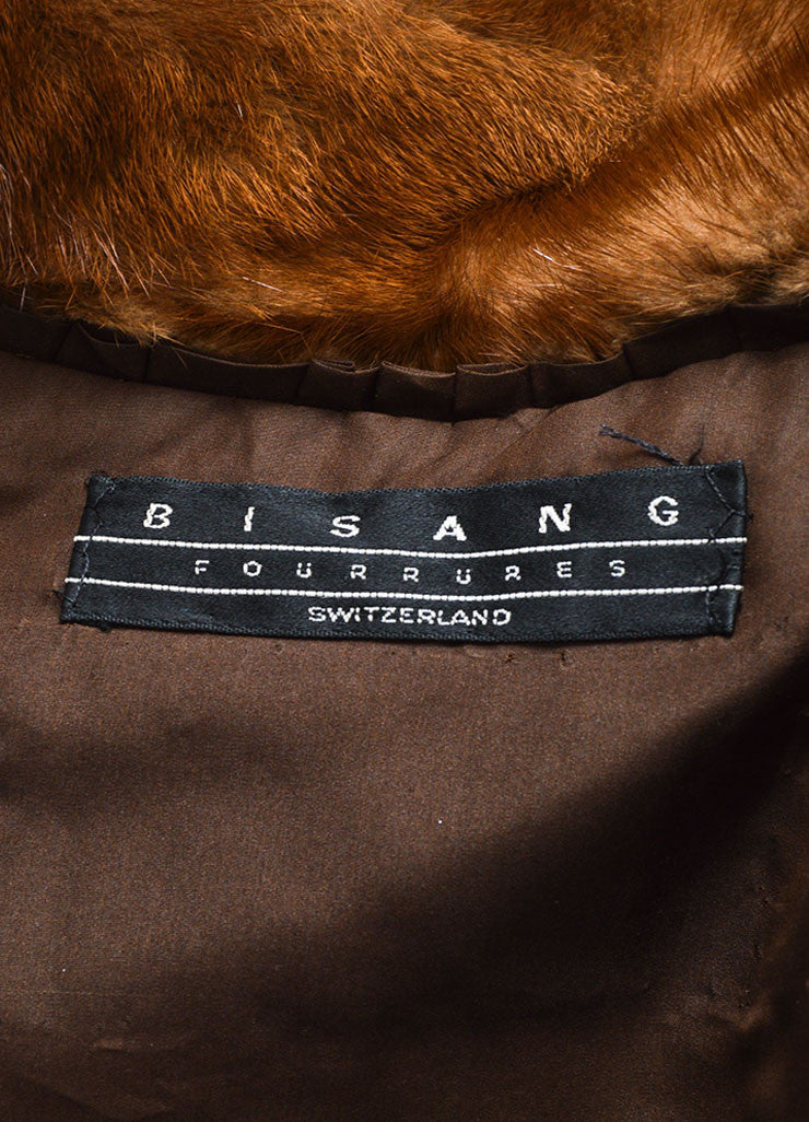 Bisang Brown Fur Double Breasted Hooded Coat Brand