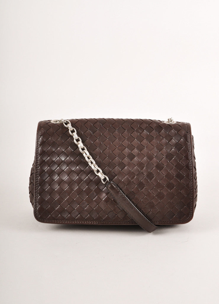 Bottega Veneta Brown Leather Silver Toned Chain Link Woven Small Shoulder Bag Frontview