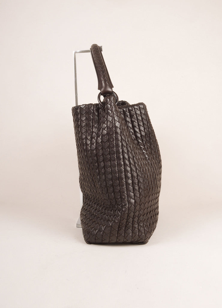 Bottega Veneta Brown Leather Woven Intrecciato Tote Bag Sideview