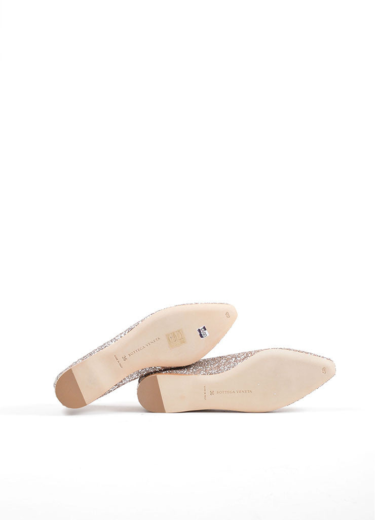 Bottega Veneta Rose Pink Glitter Woven Leather Detail Flats Outsoles