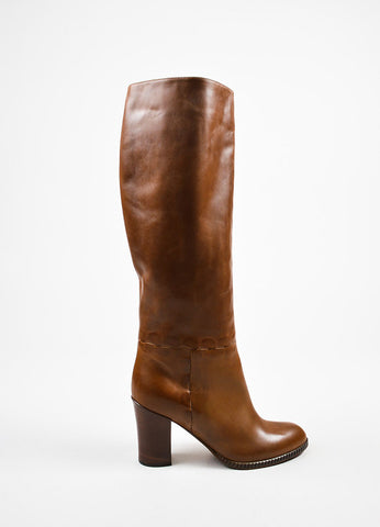 Bottega Veneta Brown Leather Stacked Heel Tall Boots Sideview