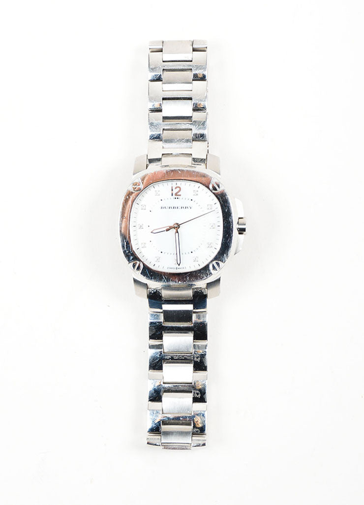 stainless steel burberry diamond mother of pearl watch front