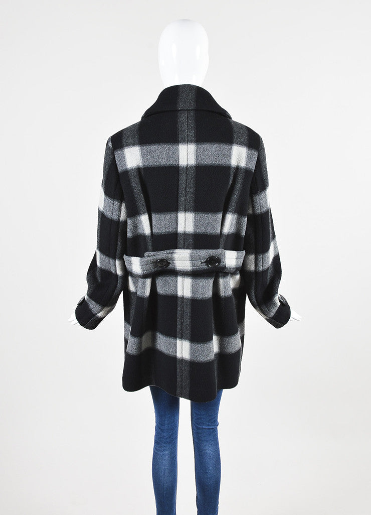Grey and Black Burberry Brit Wool Plaid Double Breasted Pea Coat Backview