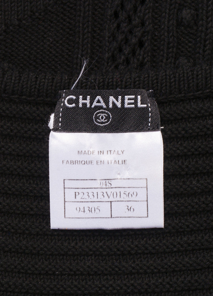Chanel Black Embroidered Crochet Knit Sleeveless Dress Brand