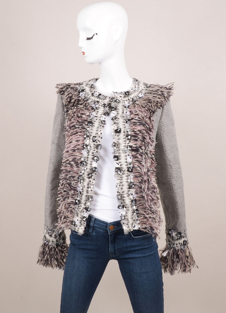 Carolina Herrera New With Tags Grey Wool Blend Feather Embellished Jacket Frontview