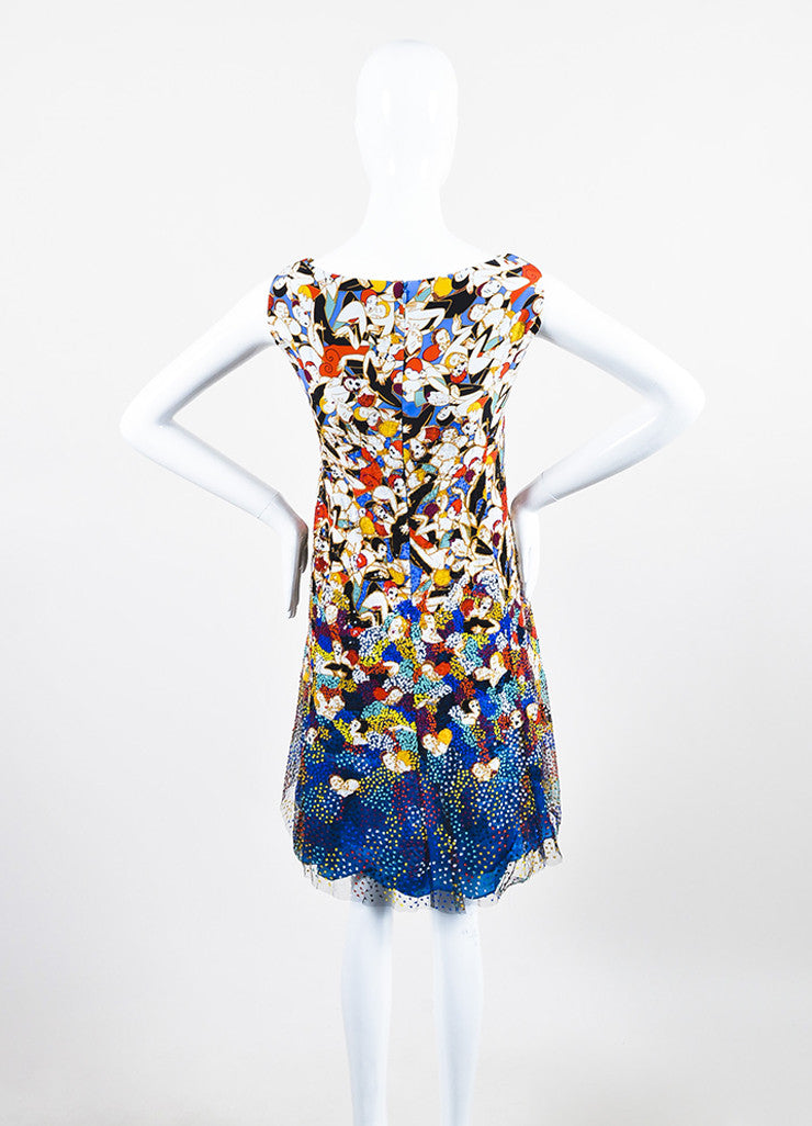 Carolina Herrera Multicolor Silk Dancer Print Sequin Sleeveless Dress Backview