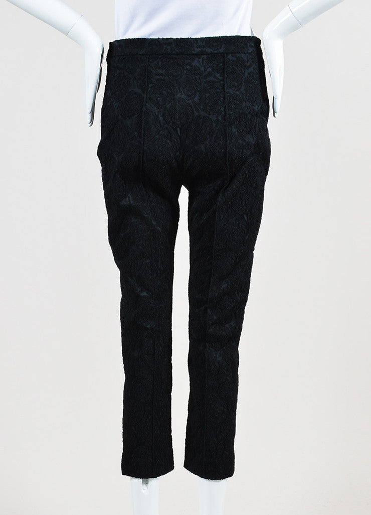 Black Celine Silk Embroidered Texture Cropped Tapered Trousers Backview