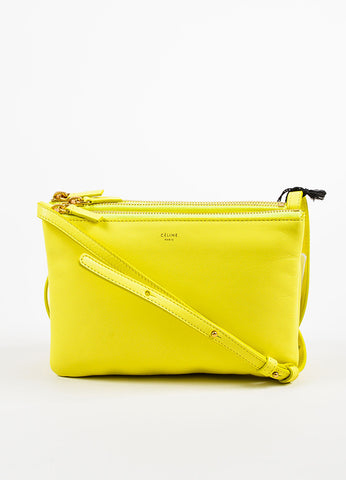 "Celine Yellow Leather ""Small Trio"" Gold Tone Zip Crossbody Bag Front"