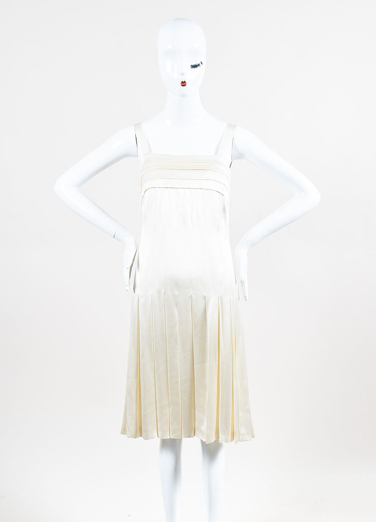 Chanel Cream Silk Spaghetti Strap Pleated Faux Pearl Detail Dress Frontview