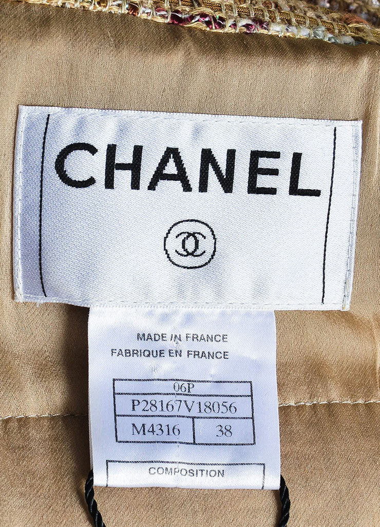 Chanel Tan and Burgundy 'CC' Button Tweed Jacket Brand