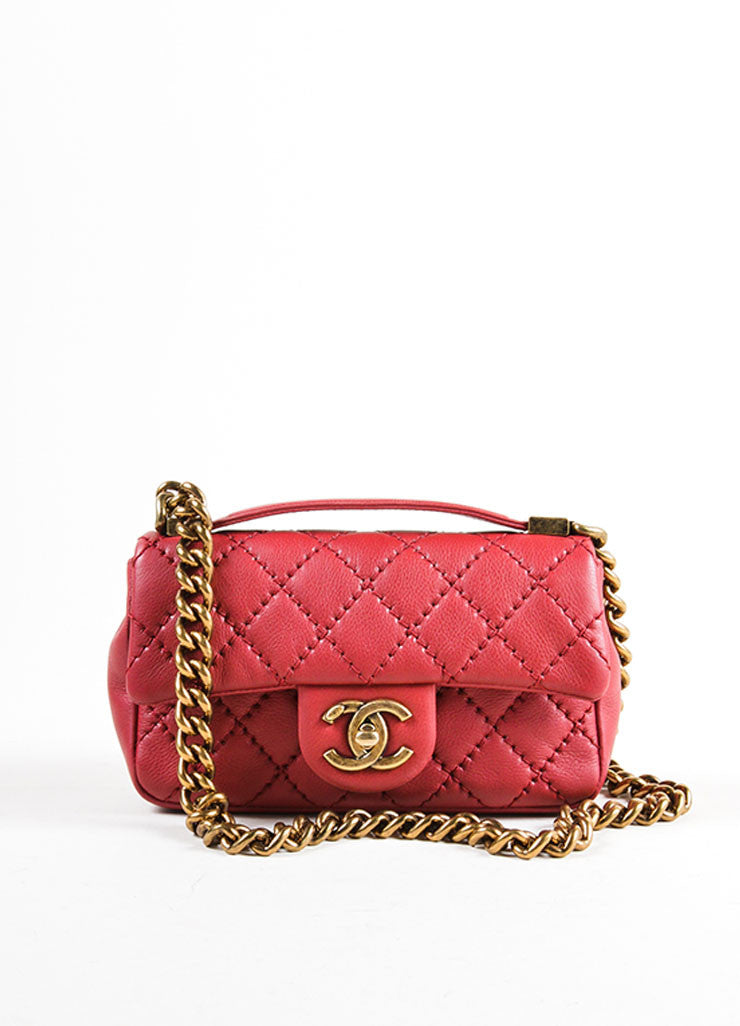 Chanel Red Leather Chain Strap Flap Crossbody Bag Frontview