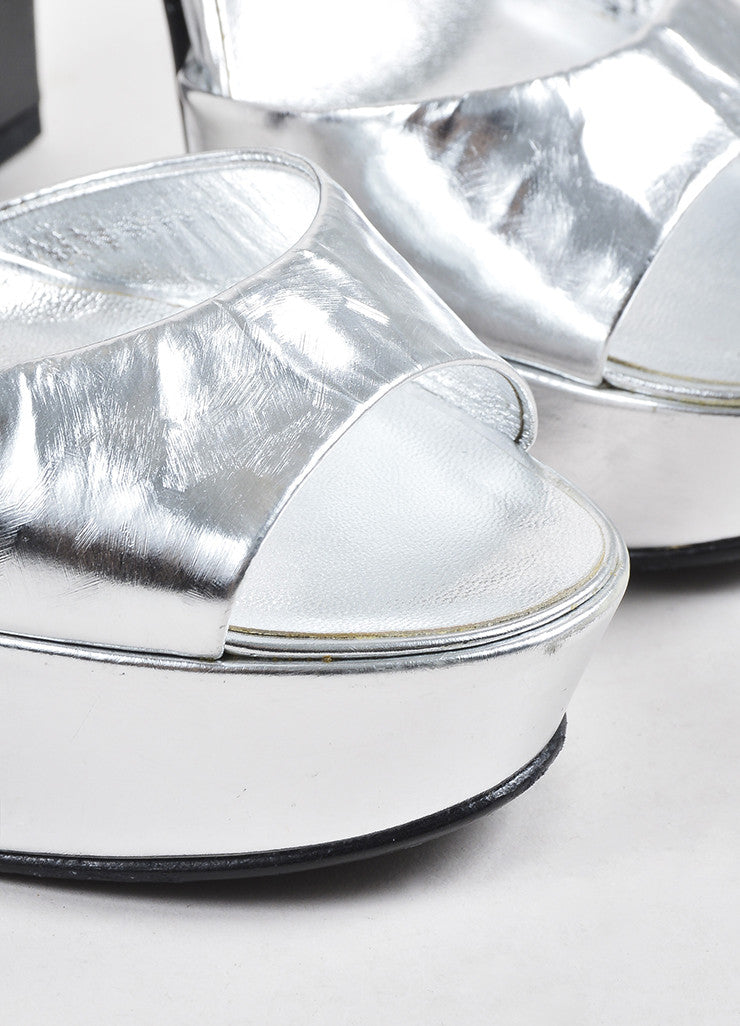Silver Chanel Metallic Leather Brushstroke Platform Chunky Sandals Detail
