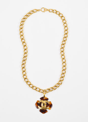 Chanel Gold Toned Chain Link Tortoise Shell Clover 'CC' Pendant Necklace Frontview