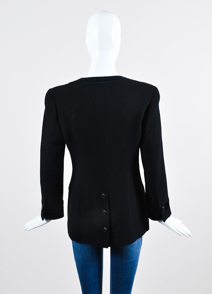 Black Chanel Wool Satin Trim 'CC' Button Jacket Backview