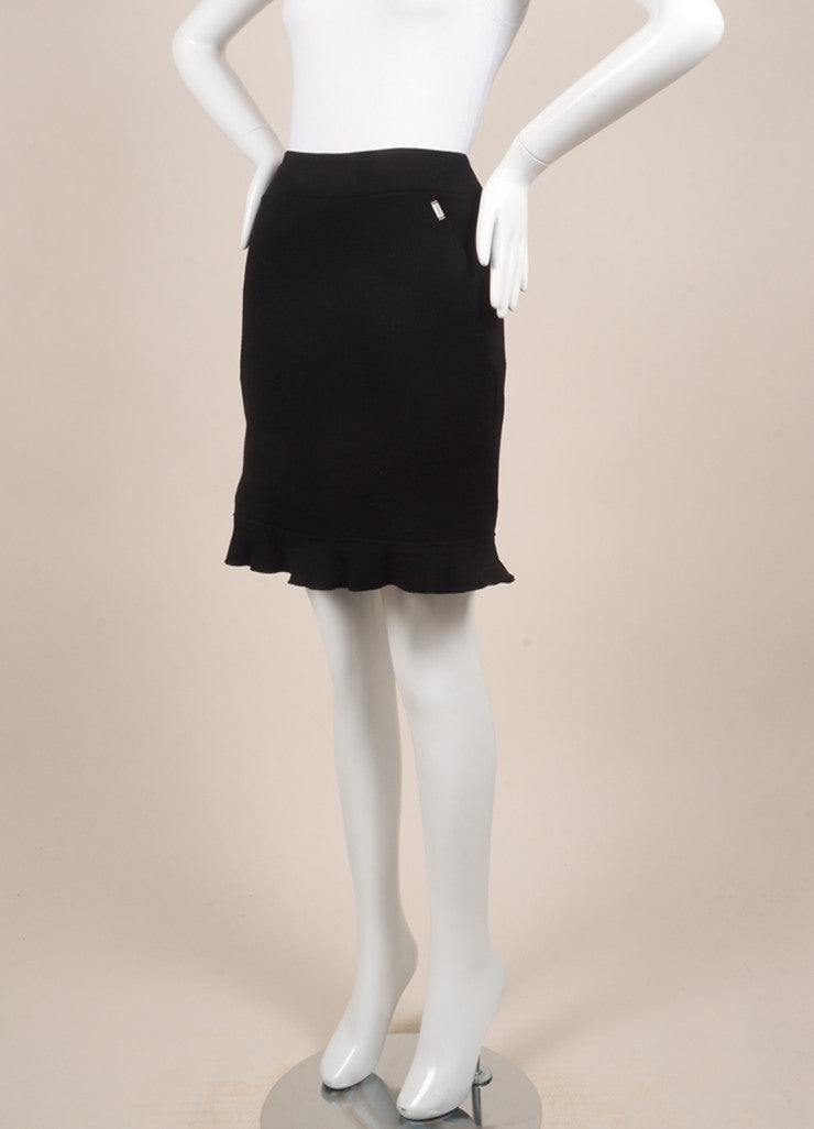 Chanel Black Wool Ruffle Skirt Sideview