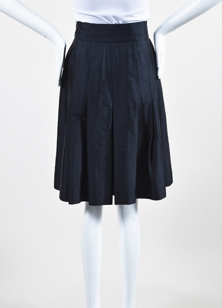 Chanel Navy Blue Silk Soft Pleated Culotte Shorts Backview