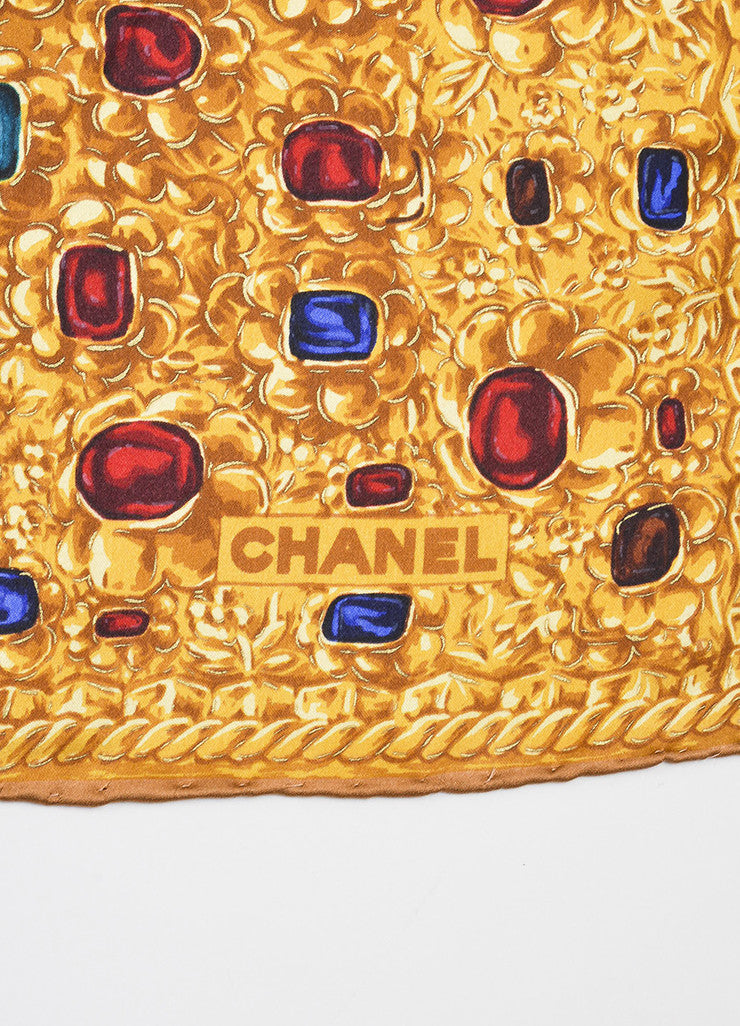 Gold, Red, and Blue Chanel Silk Jewel Chain Print Square Scarf Brand