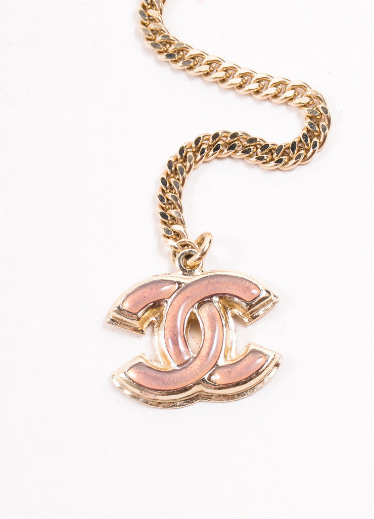 "Chanel Gold Toned, Blue, and Pink ""CC"" Stone Rosette Chain Belt Brand"