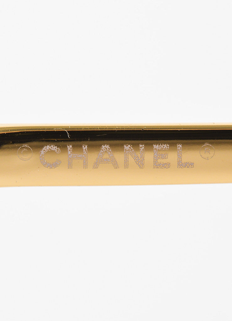 "Chanel Gold Toned and Brown Frameless Camellia Floral Accent ""4135"" Sunglasses Brand"