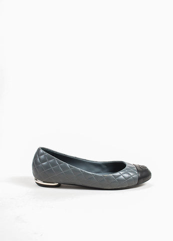 Chanel Grey and Black Quilted Leather 'CC' Logo Cap Toe Ballet Flats Sideview